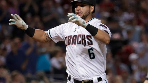 Arizona Diamondbacks' David Peralta celebrates after hitting a solo home run against the Washington Nationals during the first inning of a baseball game, Friday, July 21, 2017, in Phoenix. (AP Photo/Matt York)