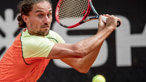 Ukraine's Alexandr Dolgopolov during the semi final match against Russia's Andrey Kuznetsov during the Swedish Open tennis tournament in Bastad, Sweden, Saturday July 22, 2017. (Adam Ihse / TT via AP)