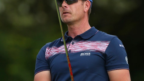 Sweden's Henrik Stenson watches his shot from the 5th tee during the third round of the British Open Golf Championship, at Royal Birkdale, Southport, England, Saturday July 22, 2017. (AP Photo/Dave Thompson)