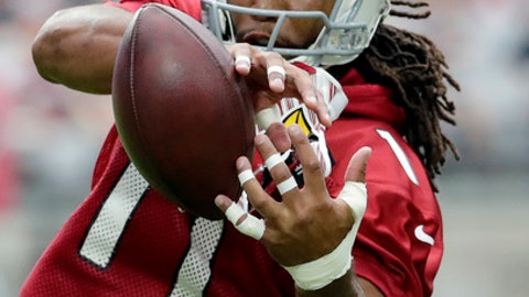 Arizona Cardinals wide receiver Larry Fitzgerald runs drills during the first day of NFL football training camp, Saturday, July 22, 2017, in Glendale, Ariz. (AP Photo/Matt York)