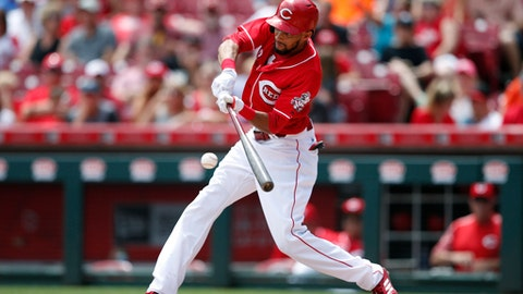 Cincinnati Reds' Billy Hamilton hits a single against the Miami Marlins during the fifth inning of a baseball game, Sunday, July 23, 2017, in Cincinnati. (AP Photo/Gary Landers)