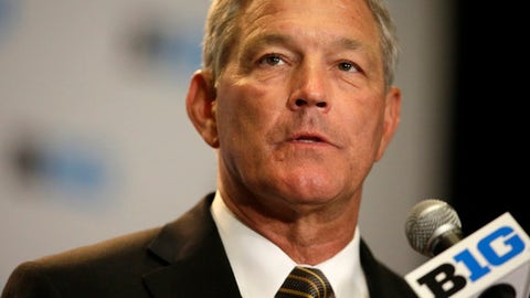 Iowa NCAA college football head coach Kirk Ferentz speaks at Big Ten Media Day in Chicago, Monday, July 24, 2017. (AP Photo/G-Jun Yam)