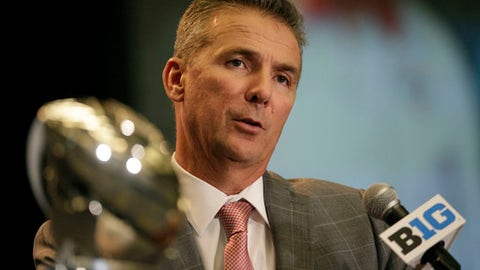 Ohio State NCAA college football head coach Urban Meyer speaks at Big Ten Media Day in Chicago, Monday, July 24, 2017. (AP Photo/G-Jun Yam)