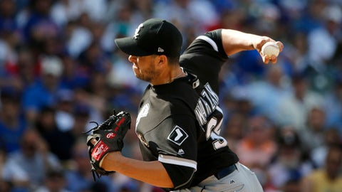 Chicago White Sox relief pitcher Anthony Swarzak delivers during the ninth inning of a baseball game against the Chicago Cubs, Monday, July 24, 2017, in Chicago. (AP Photo/Charles Rex Arbogast)