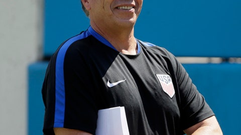 FILE - In this July 7, 2017, file photo, United States soccer coach Bruce Arena waits for his players to take the field for practice in Nashville, Tenn. On Wednesday, July 26, 2017, Arena could become the first to coach three CONCACAF Gold Cup victories when the United States takes on Jamaica. (AP Photo/Mark Humphrey, File)