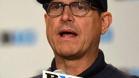 Michigan NCAA college football head coach Jim Harbaugh speaks at Big Ten Media Day in Chicago, Monday, July 24, 2017. (AP Photo/G-Jun Yam)