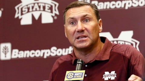 Mississippi State football coach Dan Mullen outlines what he expects from his players this 2017 football season in Starkville, Miss., Tuesday, July 25, 2017. (AP Photo/Rogelio V. Solis)