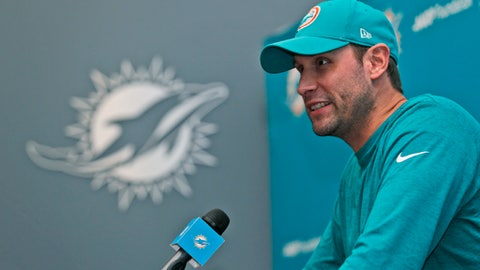 Miami Dolphins head coach Adam Gase smiles as he speaks during a news conference, Tuesday, July 25, 2017, at the Dolphins training facility in Davie, Fla. Gase believes his roster is more talented than a year ago when he was a rookie coach for the Dolphins, who start training camp Thursday. (AP Photo/Wilfredo Lee)