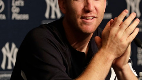 New York Yankees' Todd Frazier speaks during a press conference before a baseball game against the Cincinnati Reds Tuesday, July 25, 2017, in New York. (AP Photo/Frank Franklin II)