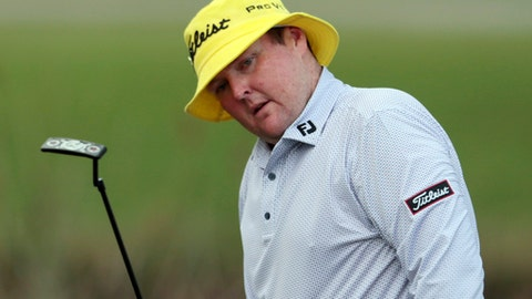 FILE - In this April 23, 2015 file photo, Jarrod Lyle, of Australia, reacts after missing a putt on the 17th hole during the first round of the Zurich Classic PGA golf tournament in Avondale, La. Golf Australia issued a statement Wednesday, July 26, 2017 on behalf of the Lyle family, saying the 35-year-old golfer was in Royal Melbourne Hospital for what doctors suspect will be a third fight against acute myeloid leukemia. (AP Photo/Butch Dill, File)