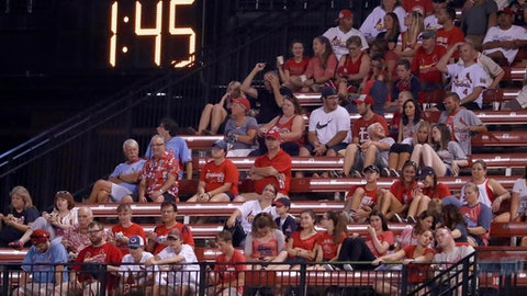 A countdown clock in the outfield reads 1:45 at the end of the fifth inning of a baseball game between the St. Louis Cardinals and the Colorado Rockies on Tuesday, July 25, 2017, in St. Louis. Major League Baseball is experimenting with a shorter period between innings during the game with an eye on shortening games. (AP Photo/Jeff Roberson)