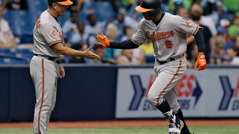 Baltimore Orioles' Jonathan Schoop, right, is congratulated by third base coach Bobby Dickerson after hitting a home run off Tampa Bay Rays starting pitcher Alex Cobb during the fourth inning of a baseball game Wednesday, July 26, 2017, in St. Petersburg, Fla. (AP Photo/Chris O'Meara)