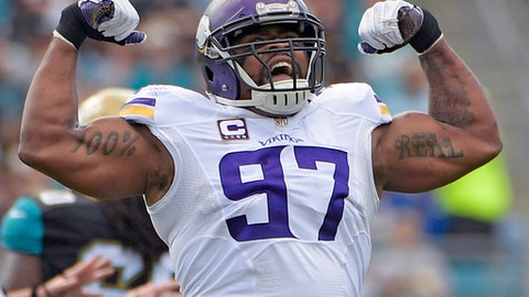 FILE - In this Dec. 11, 2016, file photo, Minnesota Vikings defensive end Everson Griffen celebrates after sacking Jacksonville Jaguars quarterback Blake Bortles during the first half of an NFL football game in Jacksonville, Fla. The Vikings have signed the two-time Pro Bowler to a contract extension, the team announced Wednesday, July 26, 2017. (AP Photo/Phelan M. Ebenhack, File)