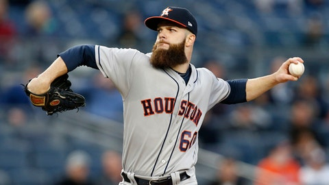 FILE - In this May 11, 2017, file photo, Houston Astros starting pitcher Dallas Keuchel delivers to a New York Yankees batter during a baseball game in New York. Keuchel is set to rejoin the Astros' rotation on Friday, July 28, at the Detroit Tigers. The 2015 AL Cy Young Award winner has not pitched since June 2 due to a neck injury that sent him to the disabled list for the second time this year.  (AP Photo/Kathy Willens, File)