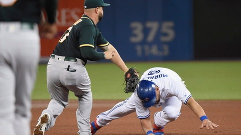 Oakland Athletics first baseman Yonder Alonso, left, tags out Toronto Blue Jays' Kendrys Morales on an inning-ending double play during seventh inning of a baseball game Wednesday, July 26, 2017, in Toronto. (Nathan Denette/The Canadian Press via AP)