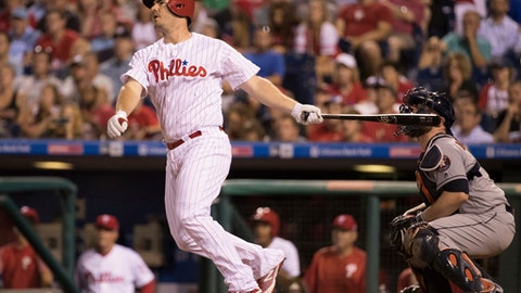 Philadelphia Phillies' Tommy Joseph hits a two run double during the sixth inning of a baseball game against the Houston Astros, Wednesday, July 26, 2017, in Philadelphia. (AP Photo/Chris Szagola)