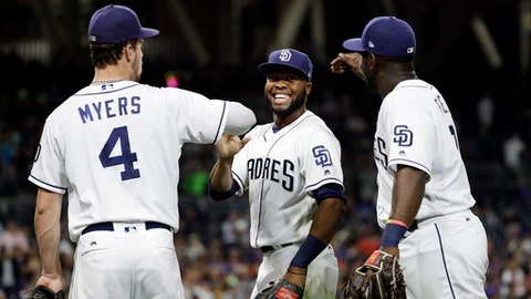 San Diego Padres center fielder Manuel Margot, center, is greeted by first baseman Wil Myers, left, and left fielder Jose Pirela after making a catch for the out on New York Mets' Michael Conforto during the fifth inning of a baseball game Wednesday, July 26, 2017, in San Diego. (AP Photo/Gregory Bull)