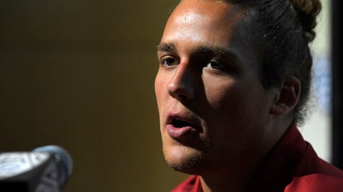 Washington State linebacker Peyton Pelluer speaks at the Pac-12 NCAA college football media day, Thursday, July 27, 2017, in the Hollywood section of Los Angeles. (AP Photo/Mark J. Terrill)
