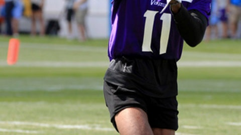 Minnesota Vikings wide receiver Laquon Treadwell makes a catch during NFL football training camp Thursday, July 27, 2017, in Mankato, Minn. (AP Photo/Andy Clayton-King)