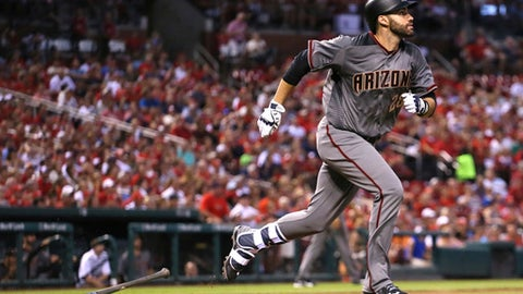Arizona Diamondbacks' J.D. Martinez starts around the bases after hitting a grand slam against the St. Louis Cardinals during the fourth inning of a baseball game Thursday, July 27, 2017, at Busch Stadium in St. Louis. (Chris Lee/St. Louis Post-Dispatch via AP)