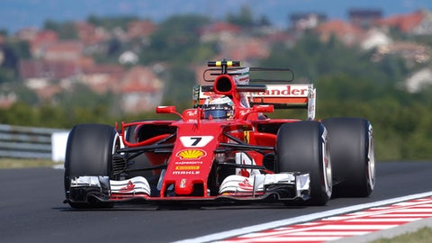 Ferrari driver Kimi Raikkonen of Finland steers his car during the first free practice session at the Hungaroring racetrack in Mogyorod, northeast of Budapest, Hungary, Friday July 28, 2017. The Hungarian Formula One Grand Prix will be held on Sunday July, 30. (AP Photo/Darko Bandic)