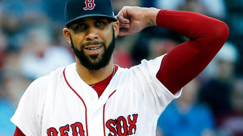 FILE - In this June 24, 2017 file photo, Boston Red Sox's David Price pauses during the first inning of a baseball game against the Los Angeles Angels in Boston. The Red Sox placed Price on the 10-day disabled list on Friday, July 28, 2017, retroactive to July 25, with left elbow inflammation. (AP Photo/Michael Dwyer, File)