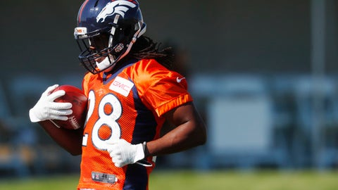 Denver Broncos running back Jamaal Charles takes part in drills at NFL football training camp Friday, July 28, 2017, in Englewood, Colo. (AP Photo/David Zalubowski)