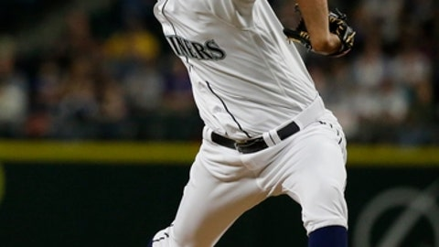 Seattle Mariners relief pitcher Steve Cishek throws in the sixth inning of a baseball game against the Colorado Rockies, Wednesday, May 31, 2017, in Seattle. (AP Photo/Ted S. Warren)