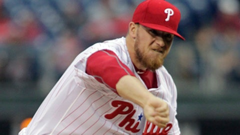 Philadelphia Phillies pitcher Jake Thompson throws during the first inning of a baseball game against the Atlanta Braves, Friday, July 28, 2017, in Philadelphia. (AP Photo/Tom Mihalek)