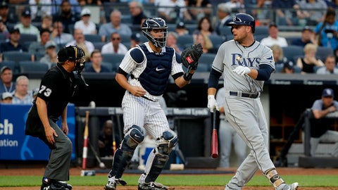 Tampa Bay Rays' Lucas Duda looks back at home plate umpire Tripp Gibson after striking out against the New York Yankees during the second inning of a baseball game, Friday, July 28, 2017, in New York. (AP Photo/Julie Jacobson)