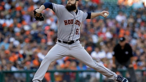 Houston Astros starting pitcher Dallas Keuchel throws during the second inning of the team's baseball game against the Detroit Tigers, Friday, July 28, 2017, in Detroit. (AP Photo/Carlos Osorio)