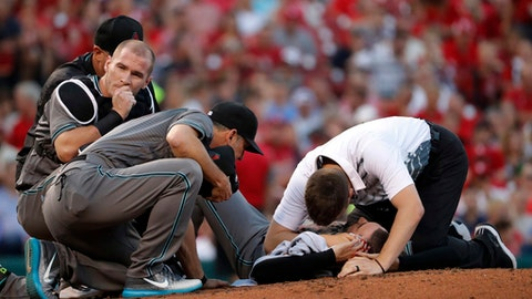 Arizona Diamondbacks starting pitcher Robbie Ray lies on the ground bleeding after being hit on the head by a ball back to the mound by St. Louis Cardinals' Luke Voit during the second inning of a baseball game Friday, July 28, 2017, in St. Louis. Ray left the game. (AP Photo/Jeff Roberson)