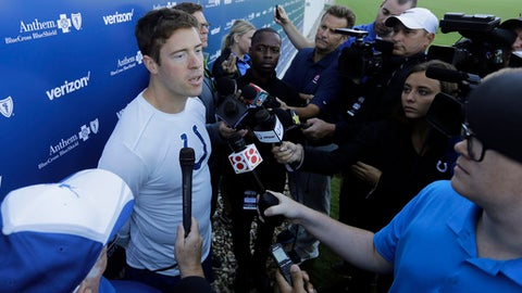 Indianapolis Colts' Scott Tolzien talks with media after arriving for NFL football training camp, Saturday, July 29, 2017, in Indianapolis. (AP Photo/Darron Cummings)