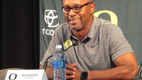 Oregon head coach Willie Taggart speaks at Autzen Stadium in Eugene, Ore., Sunday July 30, 2017. The Ducks are preparing to open fall camp under their first-year head coach. (AP Photo/Anne M. Peterson)