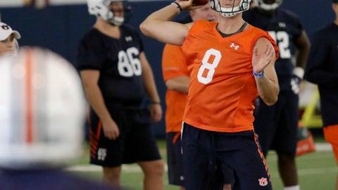 Auburn quarterback Jarrett Stidham throws during practice on Monday, July 31, 2017, in Auburn, Ala. (Todd J. Van Emst/Opelika-Auburn News via AP)