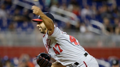 Washington Nationals starting pitcher Gio Gonzalez (47) delivers a pitch during the first inning of a baseball game against the Miami Marlins, Monday, July 31, 2017, in Miami. (AP Photo/Lynne Sladky)