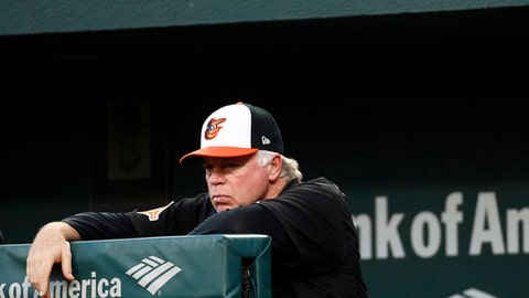Baltimore Orioles manager Buck Showalter stands in the dugout in the third inning of a baseball game against the Kansas City Royals in Baltimore, Monday, July 31, 2017. (AP Photo/Patrick Semansky)