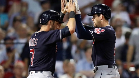 Cleveland Indians' Bradley Zimmerman, right, is congratulated by Yan Gomes (7) after his two-run home run off Boston Red Sox starting pitcher Doug Fister during the eighth inning of a baseball game at Fenway Park, Monday, July 31, 2017, in Boston. (AP Photo/Charles Krupa)