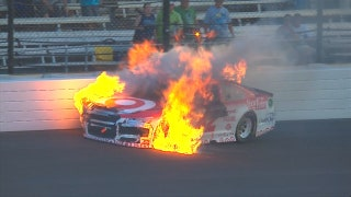 Watch Kyle Larson's car burst into flames after hitting the wall | 2017 BRICKYARD 400