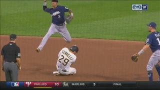 WATCH: Brewers' Arcia makes 2 acrobatic plays at shortstop