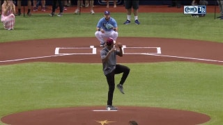 Buccaneers QB Jameis Winston throws out the first pitch before Rays game