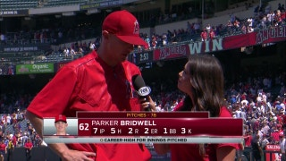 Parker Bridwell gets the win over Red Sox, becoming Angels go-to guy