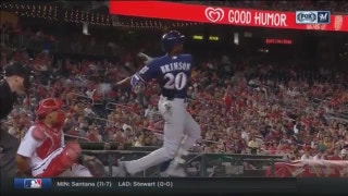 WATCH: Brewers' Brinson crushes first career home run