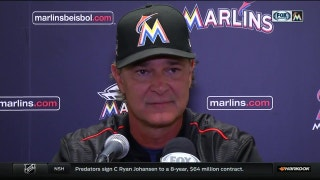Marlins manager Don Mattingly reacts to Friday's win over the Reds
