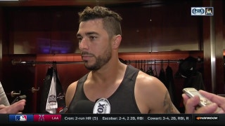 Mike Aviles reacts to his first career pinch hit home run in Friday's win over the Reds.