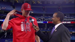 Parker Bridwell gets his postgame 'shower' on the field