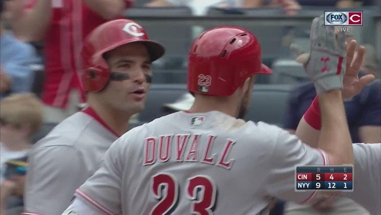 WATCH: Adam Duvall hits three-run home run at Yankee Stadium