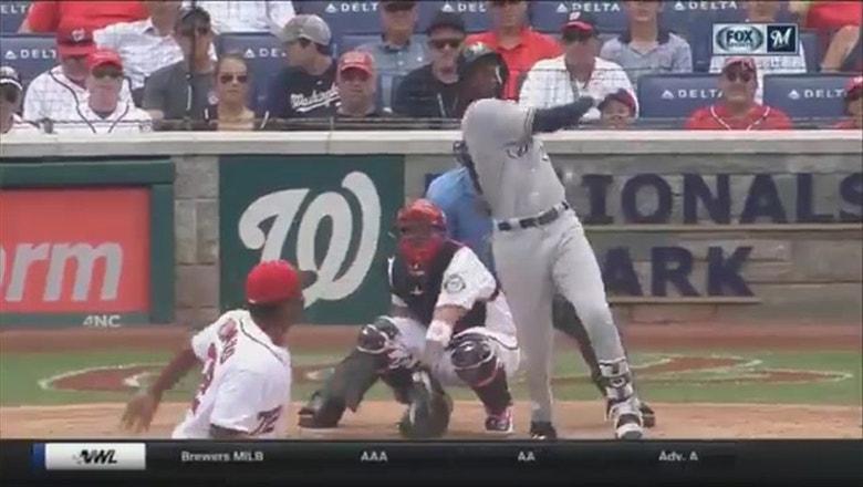 WATCH: Brewers' Lewis Brinson smacks 2nd career MLB home run