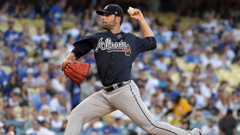 Jul 21, 2017; Los Angeles, CA, USA; Atlanta Braves pitcher Jaime Garcia (54) delivers a pitch against the Los Angeles Dodgers during a MLB baseball game at Dodger Stadium. Mandatory Credit: Kirby Lee-USA TODAY Sports