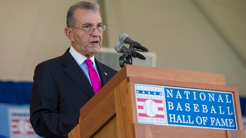Jul 30, 2017; Cooperstown, NY, USA; Hall of Fame Inductee John Schuerhotz makes his acceptance speech at Clark Sports Center. Mandatory Credit: Gregory J. Fisher-USA TODAY Sports